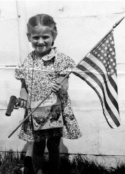crazy american kid gun and flag